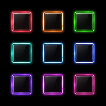 Neon square shape frame set with glass texture plate. Color design element. Shining rectangle banners set. Led halogen lamp signs. Ilustrace