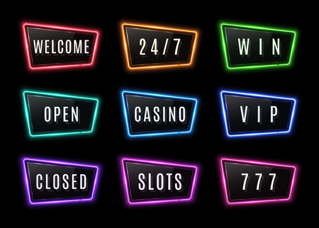 Colorful neon signs collection with glossy plastic plate. Electric led or halogen lamp borders set with text welcome open closed casino slots win 777 vip. Ilustrace