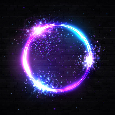 Neon light circle background with explosion particles glitter confetti star spark. Electric round frame. Geometric shape technology design. Reklamní fotografie - 127493041