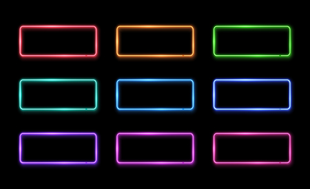 Colorful neon frame set. Square shape signs collection. Design element template. Led or halogen lamp border. 1980s style 3d electric neon tubes.