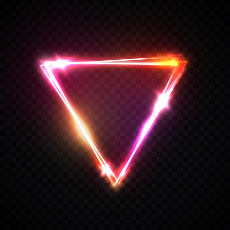 Upside down triangle neon background. Electric geometric shape with light flare glow on transparent. Shining logo border design for casino night club disco rave party in 1980 style illustration Reklamní fotografie - 127493044