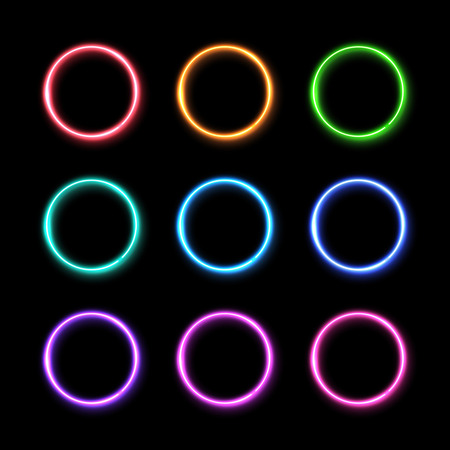 Colorful neon light ring set. Glowing colored circles background. 3d electric led or halogen lamp round frames.