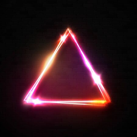 Red pink neon abstract triangle background. Glowing frame. Vintage electric sign. Burning symbol on black wall. Pointer to club, bar or cafe. Design element for ad, poster, banner. Reklamní fotografie - 127493045