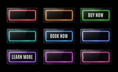 Colorful neon square signs set. Buy now, learn more, book now light banners design. Glowing rectangle buttons on black background. Shining led halogen lamp frame banner.
