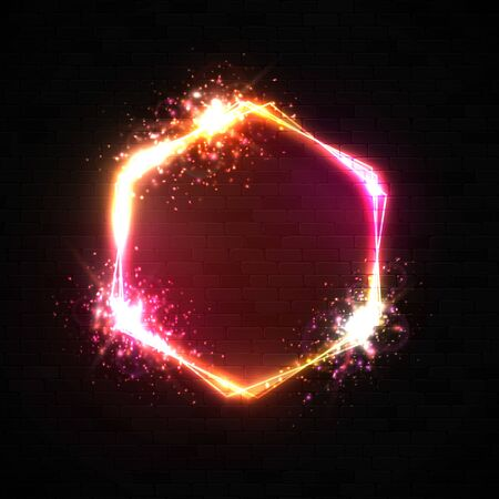 Neon hexagon background. Glowing light banner with blank space. Electric street sign. Hexagonal bright frame on black brick wall. Abstract 3d border with flares star particles.