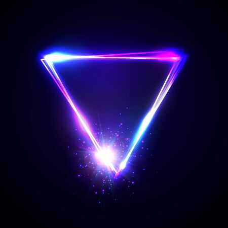 Neon abstract triangle with light star particle. Glowing vintage electric frame. Shining pointer on dark blue background. Design element for ad, sign, poster, banner club bar cafe.