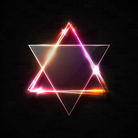 Jewish David star design on black brick wall background. Electric neon light glowing triangles with star sparkle text space. Star of David. Abstract Israel line symbol.