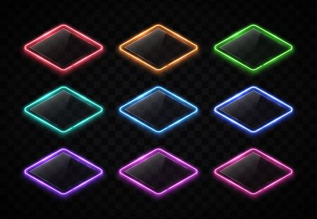 Color led lamp electric lozenge signs set with shiny plastic plate on transparent background. Night club rhombus. Retro neon light frame with glowing effect. 80s style techno brill vector illustration Ilustrace