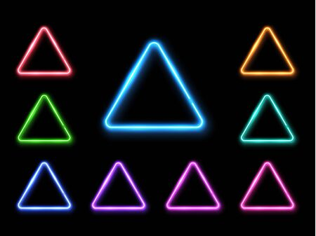 Vector abstract neon triangle set. Light effect background. Glowing decorative led lamp luminous geometric shape. Technology halogen line signs. Gleaming illuminating decorative vector illustration.