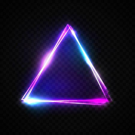 Triangle abstrait néon sur fond transparent. Cadre lumineux. Symbole électrique vintage. Pointeur brûlant. Élément de design de club, bar ou café pour votre enseigne publicitaire, affiche, bannière. Illustration vectorielle lumineuse