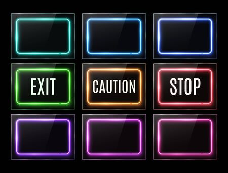 Exit caution stop light sign. Color rectangle electric neon signboards set. Glowing led square banners on black background. Empty advertising frame for flyer poster button. Light vector illustration. Ilustrace