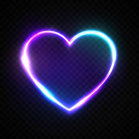 Color 3d bright heart. Electric neon sign. Retro neon heart sign on transparent background. Design element for Happy Valentines Day. Ready for your design, greeting card, banner. Vector illustration.