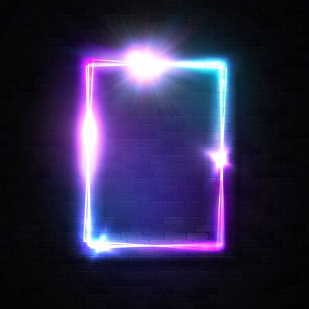 Vertical neon rectangle sign on black brick wall background. Glowing frame with shining star electric light flash sparkle. Design element for night club disco rave music bar. Laser vector illustration