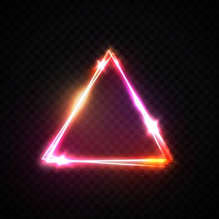 Triangle neon sign on transparent background. Glowing pink red yellow neon electric wiring border with star sparkle space for text. 3d 80s style frame. Ilustrace