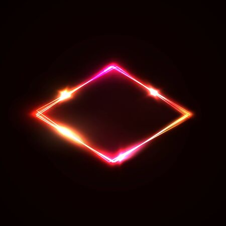 Neon light sign. Glowing laser rhomb on dark red background. Retro light lozenge signboard with neon effect.