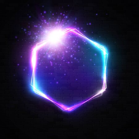 Hexagon neon light banner with blank space for text. Electric glowing bright frame on black brick wall background. Neon abstract border with star flares sparkles.