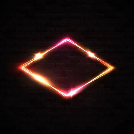 Red neon rhombus background on black brick wall. Retro light lozenge sign with neon effect. Technology diamond border. Night club casino design template.