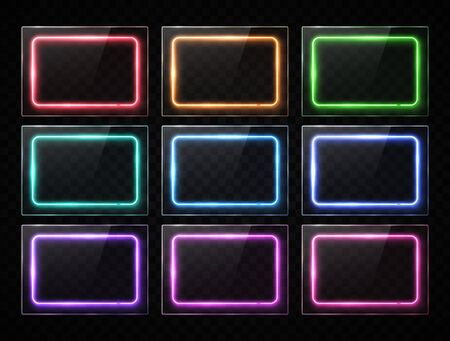Colorful neon rectangle banners collection. Glowing square buttons set on transparent background. Shining electric led halogen lamp frame. Ilustrace