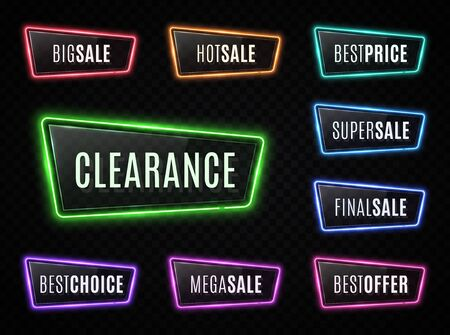 Big sale, best price, super sale, clearance neon signs on transparent background. Led lamp color set with advertising discount text. Glowing frames with shiny plastic plate. Bright vector illustration Reklamní fotografie - 128677602
