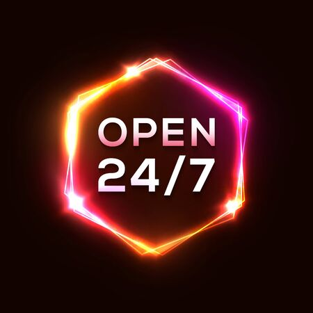 Retro night club neon sign Open 24 7. Light electric hexagon frame on dark red background. Vintage electricity signboard with bright neon lights. Yellow pink red color border. 1980 vector illustration