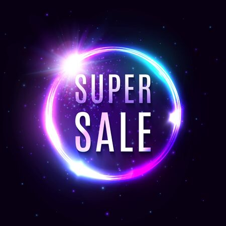Super Sale banner. Neon light tube background for your advertise discount, business design concept on dark blue. Electric glowing circle sign with shining star. Bright illuminated vector illustration.