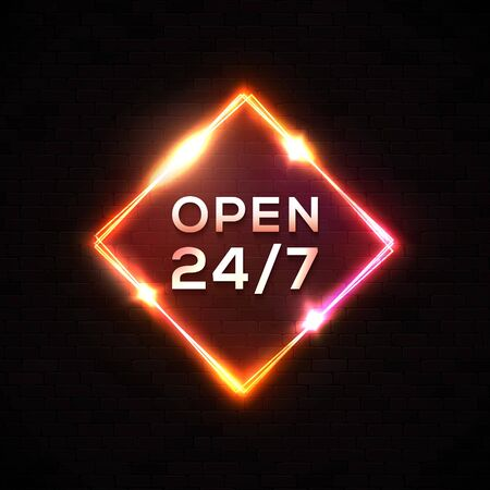 Open 24 7. Retro night bar neon sign. Light electric square frame on black brick wall background. Vintage rectangle signboard with bright neon lights. Red color rhombus border 1980 vector illustration Çizim
