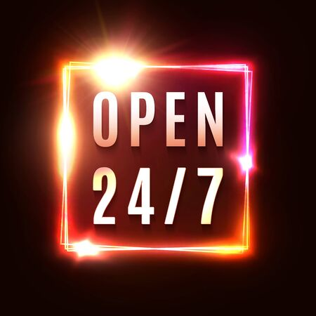 Open 24 7. 1980 style night club or bar neon sign. Light electric square frame on dark red background. Vintage rectangle signboard with bright neon lights. Color illuminated border vector illustration