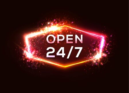 Open sign store 24 hours 7 days a week. Retro night club or bar neon sign. Light glowing letters in electric hexagon frame on dark red background. Pink red color border. 80s style vector illustration