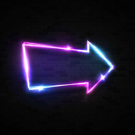 Neon arrow pointer on black brick wall background. Electric arrow symbol. Technology glowing led lamp on dark backdrop. Color retro sign. Illuminated light banner design 80s bright illustration