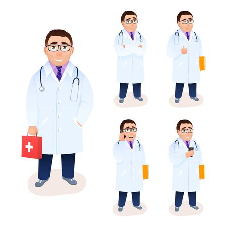 Male flat doctor character set isolated on white background. Young man design in white coat uniform with cell phone, medical research, ok gesture, first aid kit. Medicine concept vector illustration.