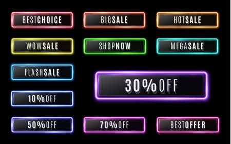 Best choice, Big sale, Shop now, Hot, Wow, Mega, Flash sale. Neon buttons set on black background for web internet mobile app. Color glowing glass banner with plastic plate. Bright vector illustration Stock Illustratie