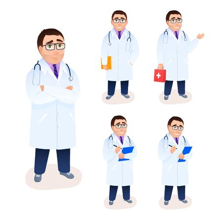 Flat doctor character portrait on white background. Young physician in lab coat. Arms crossed man specialist with medical research, first aid kit bag recipe prescription. Medicine vector illustration.