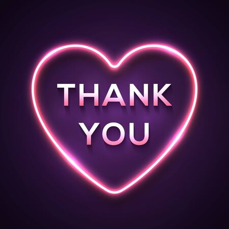 Neon light realistic words Thank You in bright electric wiring glowing heart shape frame on dark purple background. Festive pink sign for advertising flyer banner. Color technology vector illustration