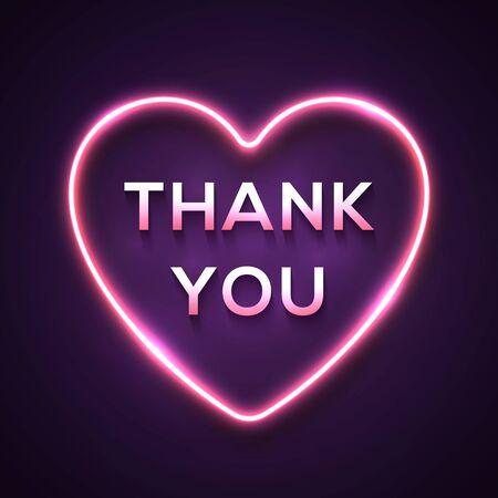 Palabras realistas de luz de neón Gracias en cableado eléctrico brillante marco en forma de corazón brillante sobre fondo púrpura oscuro. Cartel rosa festivo para banner publicitario flyer. Ilustración de vector de tecnología de color