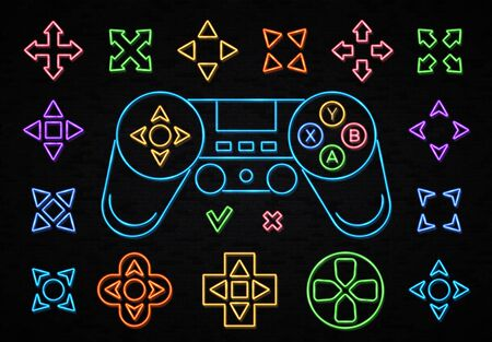 Neon color joystick icon set isolated on black brick background. Wireless Gamepad sign neon outlines. Play game light design element for gaming room club flyer banner poster. Night vector illustration