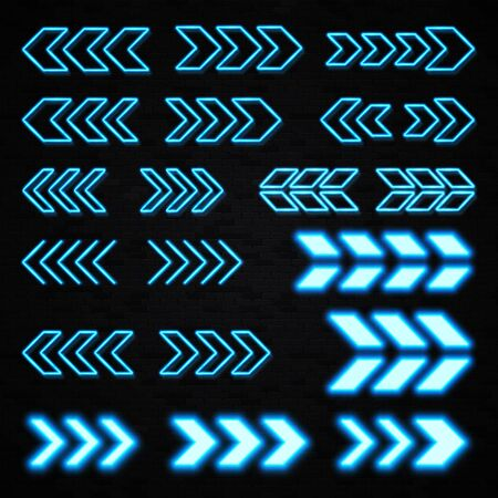 Blue neon 3d arrows set on black brick wall background. Shining led light sign showing left and right direction. Illuminated outline pointer symbol in night bar neon style. Bright vector illustration.