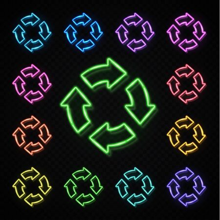 Color neon 4 in circle arrows set on transparent background. Zero Waste Reuse Recycle icon for web internet. Glowing light recycling symbol. Refresh reload pointer concept. Bright vector illustration.