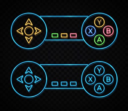 Neon game sign on dark transparent background. Color light arrow cursor icon. Retro night 80s neon gaming style. Controller key with direction cross on off button on gamepad Bright vector illustration
