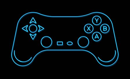 3d neon game ui sign isolated on black background. Blue joystick arrow cursor icon. Retro 80s console gaming style. Controller keys with direction cross buttons on gamepad. Bright vector illustration. Stock Illustratie