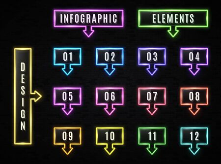 Neon Infographics elements on black brick background. Glowing color infographic rectangle frame with arrow text box. Business design template with square neon light signs. Bright vector illustration.
