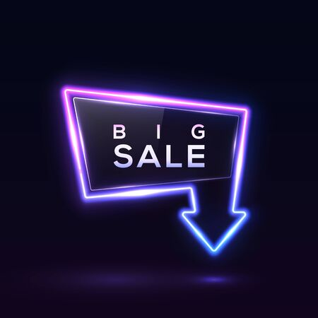 Big Sale neon banner on dark blue background. Glowing led lamp border with glossy glass plate. Shining arrow discount signboard. Sale sign for business flyer poster design. Bright vector illustration. 矢量图像