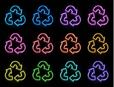 Color neon triangle recycle symbol set isolated on black background. The universal recycling logo. Reuse paper ecology sign. Glowing arrow icon. Ecological waste concept Bright eco vector illustration 矢量图像