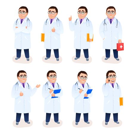 Flat doctor male character set on white background. Young Caucasian physician in white coat. Cartoon design people. Face emotions poses gestures facial expressions. Medical concept vector illustration