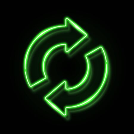 3d neon refresh reload restart icon with reflection isolated on black background. Green glowing recycling symbol. Night circle 2 arrow sign. Recycle design. Ecology element bright vector illustration. 矢量图像
