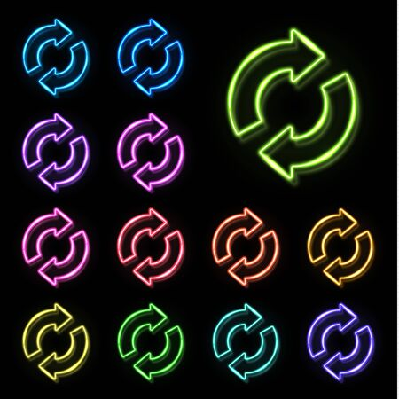 Color neon 2 in circle arrows set on black background. Zero Waste Reuse Recycle icon for web internet. Glowing light recycling symbol. Refresh reload pointer concept. Bright vector illustration.