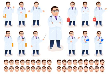 Flat male doctor character design set on white background. Young Caucasian physician in white coat. Medical staff with stethoscope first aid kit emotion facial expressions. Cartoon vector illustration 矢量图像