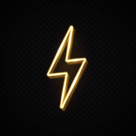 Realistic yellow 3d neon energy sign. Lightning bolt for decoration banner isolated on transparent background. Flash thunder design concept. Light electricity power symbol. Bright vector illustration. 矢量图像