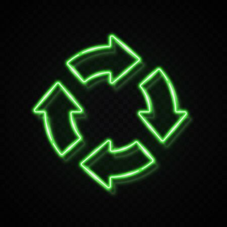 3d green color neon 4 in circle arrow on dark transparent background. Zero Waste Reuse Recycle icon for banner. Glowing light recycling symbol Refresh reload pointer concept Bright vector illustration