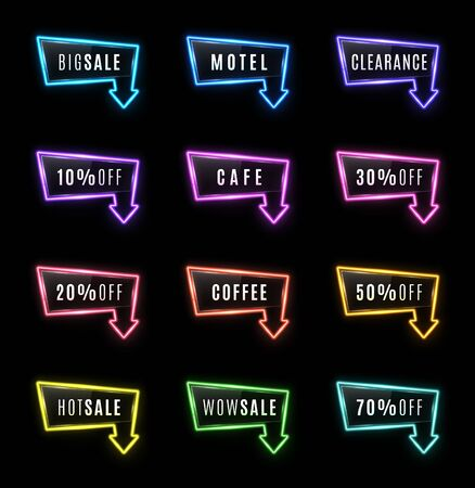 Big Sale, Motel, Hot Sale, Clearance, Cafe, Coffee, Wow 10 20 30 50 70 percent off neon light arrow color signs set on black background Glowing tube frame for night bar club Bright vector illustration 矢量图像