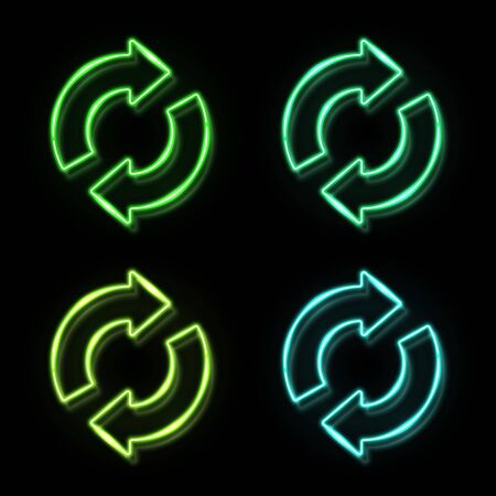 Recycling ecology icon set in neon style on black background. 3d glowing green blue eco sign concept. 2 arrows in circle recycle symbol. Organic natural design element. Bright vector illustration. 矢量图像